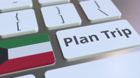 planejador : PLAN TRIP text and flag of Kuwait on the computer keyboard, travel related 3D animation