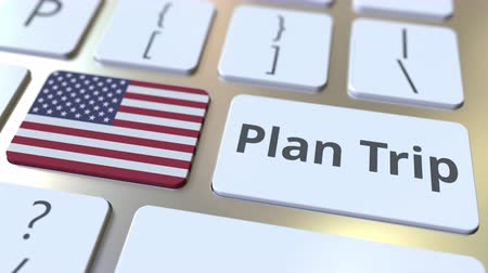 plánovač : PLAN TRIP text and flag of the United States on the computer keyboard, travel related 3D animation