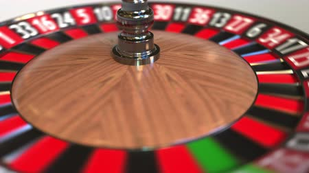 perdedor : Casino roulette wheel ball hits 9 nine red. 3D animation Stock Footage