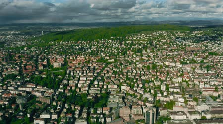 seebach : Aerial view of Seebach and Oerlikon districts of Zurich, Switzerland Stock Footage