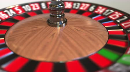 возможность : Casino roulette wheel ball hits 14 fourteen red. 3D animation