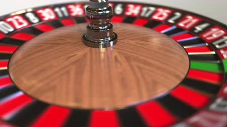 рулетка : Casino roulette wheel ball hits 33 thirty-three black. 3D animation
