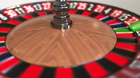 рулетка : Casino roulette wheel ball hits 24 twenty-four black. 3D animation