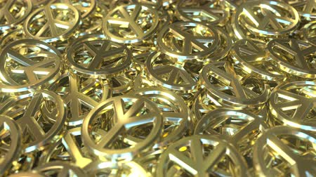 simbolismo : Golden peace sign tokens or badges. Conceptual 3D animation