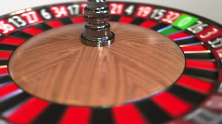 olasılık : Casino roulette wheel ball hits 23 twenty-three red. 3D animation Stok Video