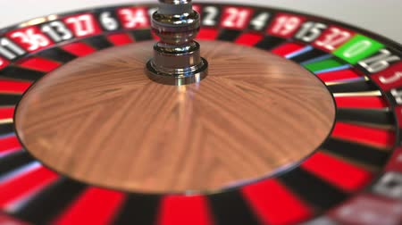 probabilidade : Casino roulette wheel ball hits 10 ten black. 3D animation Stock Footage