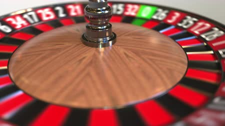 esély : Casino roulette wheel ball hits 11 eleven black. 3D animation