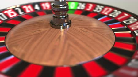 probabilidade : Casino roulette wheel ball hits 13 thirteen black. 3D animation