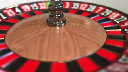 probabilidade : Casino roulette wheel ball hits 6 six black. 3D animation Stock Footage