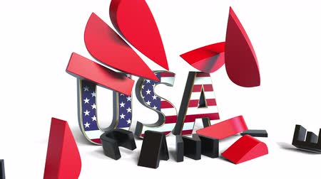 symbolic : USA caption breaking Huawei company logo. Conceptual editorial 3D animation