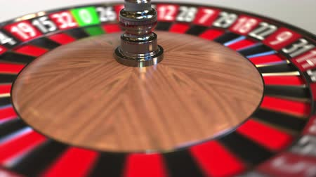 olasılık : Casino roulette wheel ball hits 17 seventeen black. 3D animation