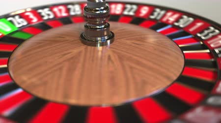 olasılık : Casino roulette wheel ball hits 4 four black. 3D animation