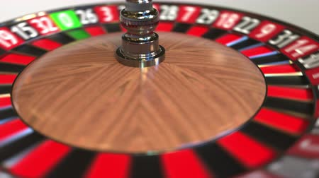 olasılık : Casino roulette wheel ball hits 25 twenty-five red. 3D animation Stok Video