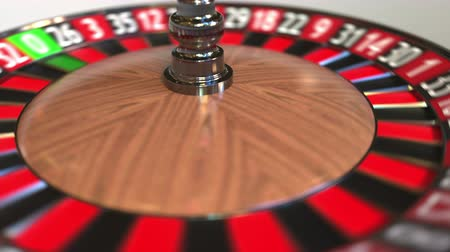 probabilidade : Casino roulette wheel ball hits 21 twenty-one red. 3D animation Stock Footage