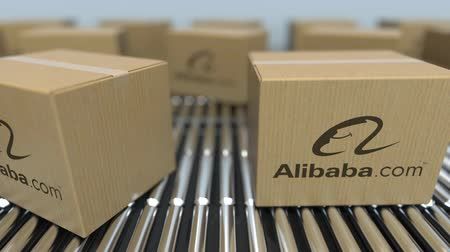 reciclado : Carton boxes with Alibaba logo move on roller conveyor. Conceptual editorial loopable animation Stock Footage
