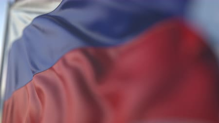 trikolóra : Waving flag of Russia, shallow focus close-up. Realistic loopable 3D animation Dostupné videozáznamy
