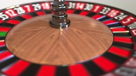 otuzlu yıllar : Casino roulette wheel ball hits 32 thirty-two red. 3D animation Stok Video