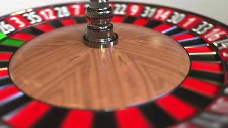probabilidade : Casino roulette wheel ball hits 19 nineteen red. 3D animation Stock Footage