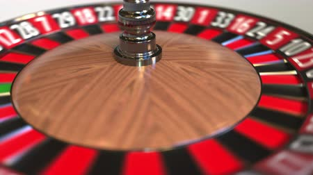 probabilidade : Casino roulette wheel ball hits zero, 3D animation