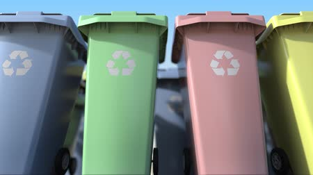 discard : Many plastic trash cans with for sorting domestic garbage. Loopable motion background Stock Footage