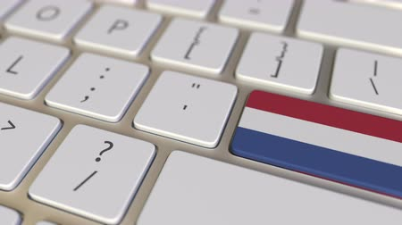 traduzione : Key with flag of the Netherlands on the computer keyboard switches to key with flag of the USA, translation or relocation related animation Filmati Stock