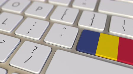 romeno : Key with flag of Romania on the computer keyboard switches to key with flag of the USA, translation or relocation related animation Stock Footage