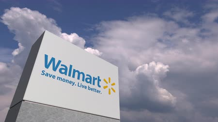 loga : Logo of WALMART on a stand against cloudy sky, editorial animation