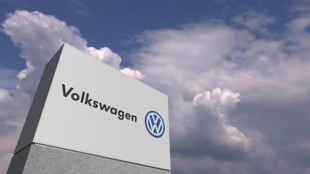 volkswagen : VOLKSWAGEN logo against sky background, editorial animation
