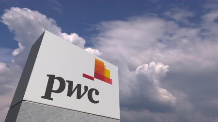 oficial : Logo of PWC on a stand against cloudy sky, editorial animation