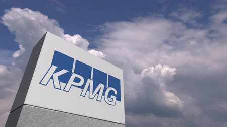 oficial : KPMG logo against sky background, editorial animation