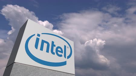 intel : INTEL logo on sky background, editorial animation Stock Footage