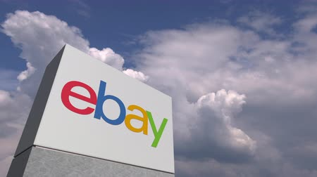 ebay : EBAY logo against sky background, editorial animation