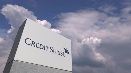 credit suisse : CREDIT SUISSE logo against sky background, editorial animation Stock Footage