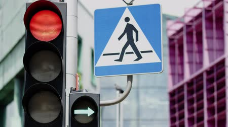 proibir : Traffic light and pedestrian crossing sign. Close-up shot on Red camera
