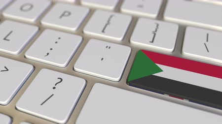 soedan : Key with flag of Sudan on the computer keyboard switches to key with flag of Great Britain, translation or relocation related animation Stockvideo