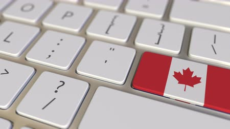 иммиграция : Key with flag of Canada on the computer keyboard switches to key with flag of Great Britain, translation or relocation related animation Стоковые видеозаписи
