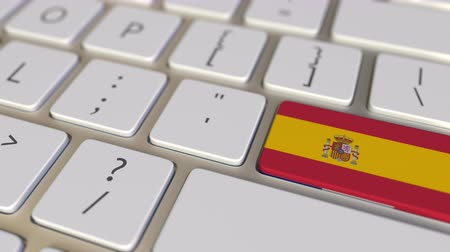deslocalização : Key with flag of Spain on the computer keyboard switches to key with flag of France, translation or relocation related animation Stock Footage