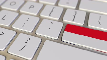 иммиграция : Key with flag of Indonesia on the computer keyboard switches to key with flag of France, translation or relocation related animation