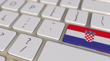 traduzione : Key with flag of Croatia on the computer keyboard switches to key with flag of France, translation or relocation related animation Filmati Stock