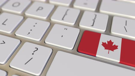 traduire : Key with flag of Canada on the computer keyboard switches to key with flag of France, relocation related animation