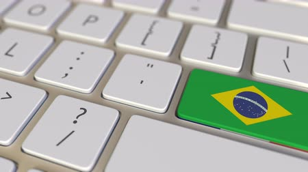 relocate : Key with flag of Brazil on the computer keyboard switches to key with flag of France, translation or relocation related animation Stock Footage