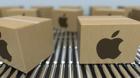 logisztikai : Carton boxes with Apple Inc logo move on roller conveyor. Conceptual editorial loopable animation