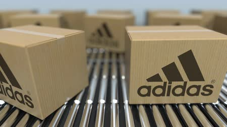 queue : Carton boxes with Adidas logo move on roller conveyor. Conceptual editorial loopable animation