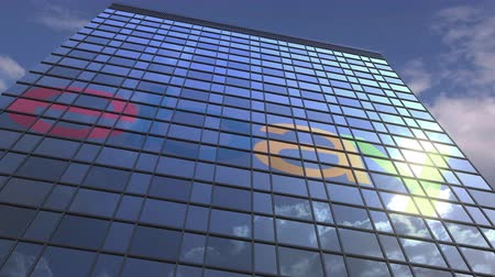 ebay : EBAY logo against modern building reflecting sky and clouds, editorial animation Stock Footage