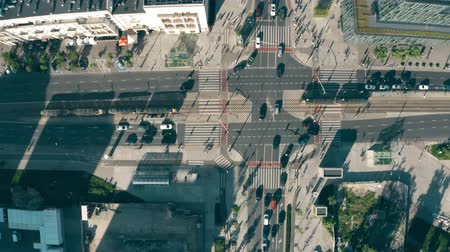 tramwaj : Aerial top down view of streets and buildings in Warsaw centre, Poland