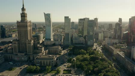 genel bakış : WARSAW, POLAND - JUNE 5, 2019. Aerial view of the city centre