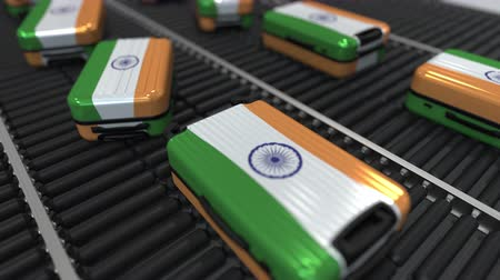 indian roller : Many travel suitcases featuring flag of India. Indian tourism conceptual animation
