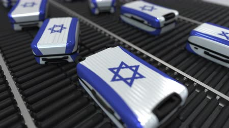 handling : Many travel suitcases featuring flag of Israel. Israeli tourism conceptual animation