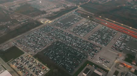 tesisler : CASSINO, ITALY - DECEMBER 28, 2018. Aerial view of FCA Italy S.p.A. Cassino automotive plant new cars storage Stok Video