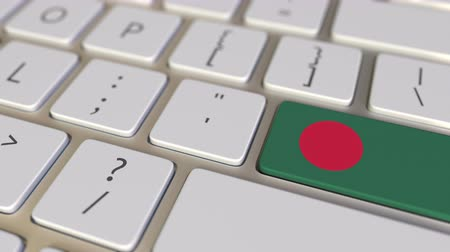 bengali : Key with flag of Bangladesh on the keyboard switches to key with flag of Germany, translation or relocation related animation Stock Footage